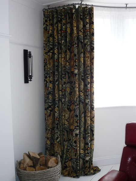 Curtains Ideas bay window curtain pole ceiling fix : Bradleys 25mm ceiling fix bay window curtain pole and Morris & Co ...