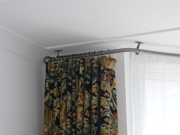 Bradleys 25mm ceiling fix bay window curtain pole and Morris & Co ...