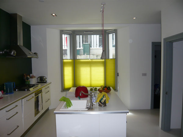 Colourful Bottom Up Duette Blinds In North London Kitchen