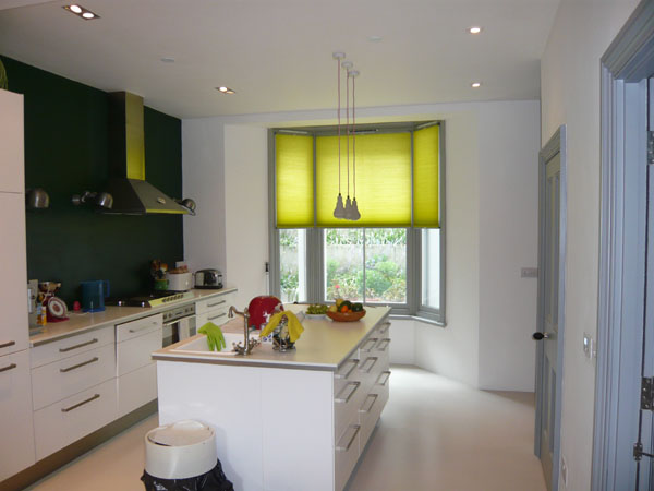 Colourful Top Down Duette Blinds In North London Kitchen