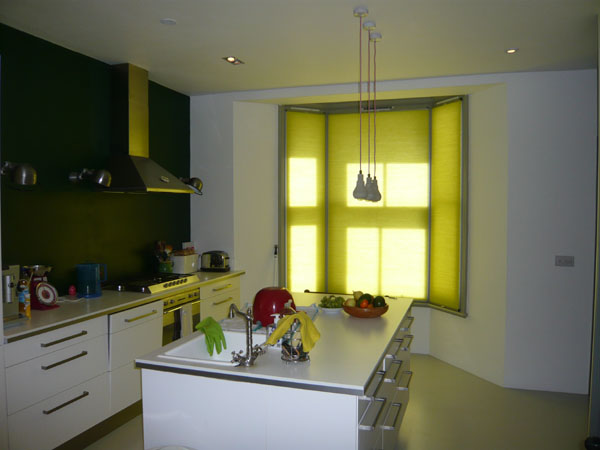 Colourful Duette Blinds In North London Kitchen