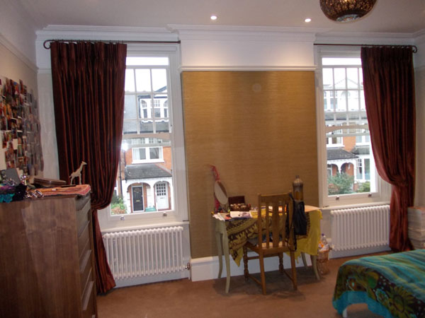 poles with recess brackets and single dramatic curtains installed in london by changing curtains
