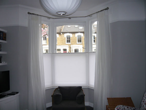 Baypole With Voile Curtains And Bottom Up Roller Blinds