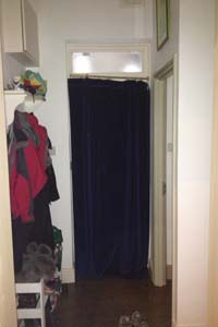 Portiere Rod And Interlined Curtain Fitted To Front Door In North London