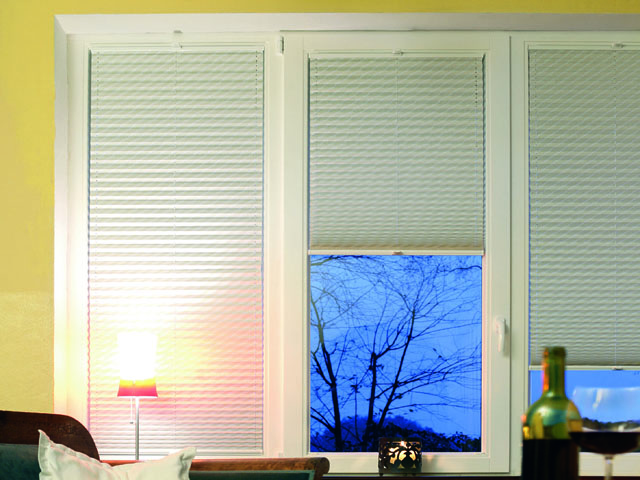 Pleated blinds attached to opening tilt and turn windows