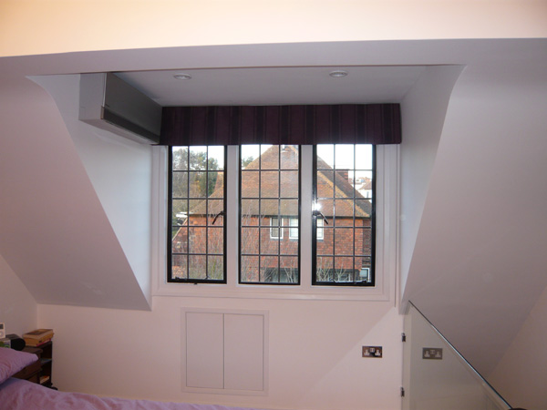 Blackout roman blind with control chain hampstead garden suburb north london