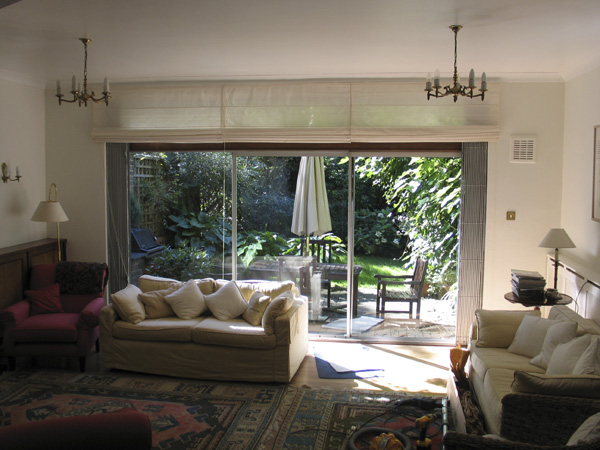 roman shade blinds on patio doors in golders green north london