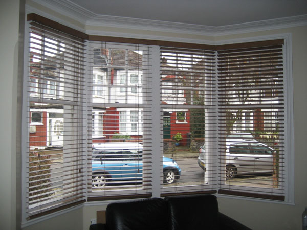 50mm Auburn Wooden Venetian Blinds Fitted In Palmers Green North London