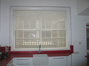 white 50mm woodslat in kitchen muswell hill 50mm white wood venetian blind