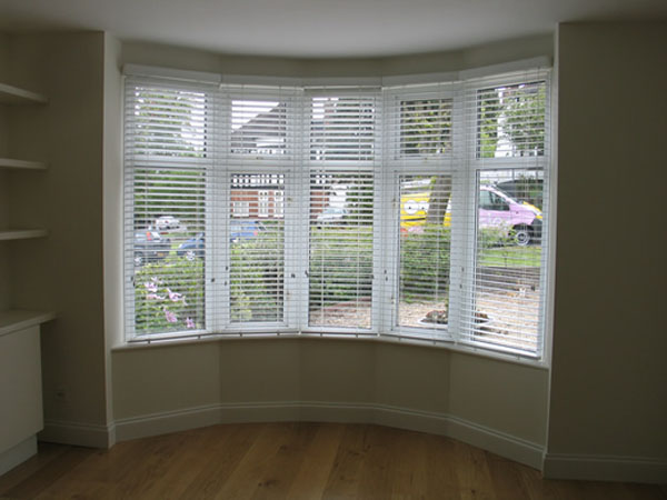 50mm White Woodslat Blinds In Bay Window Hampstead North